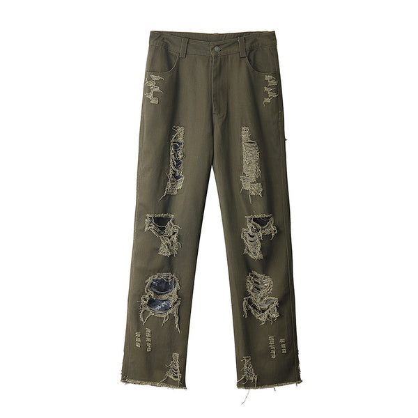 Letter embroidery ripped casual trousers