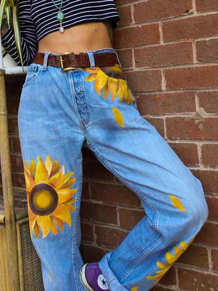 Sunflower print straight-fit jeans