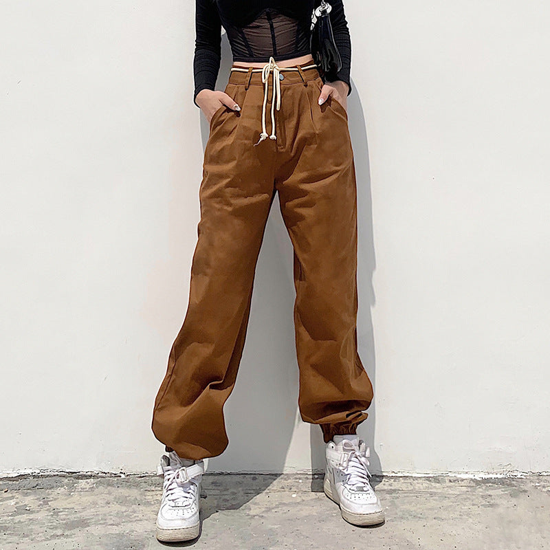 Solid Color high-waisted slim fit sports casual pants
