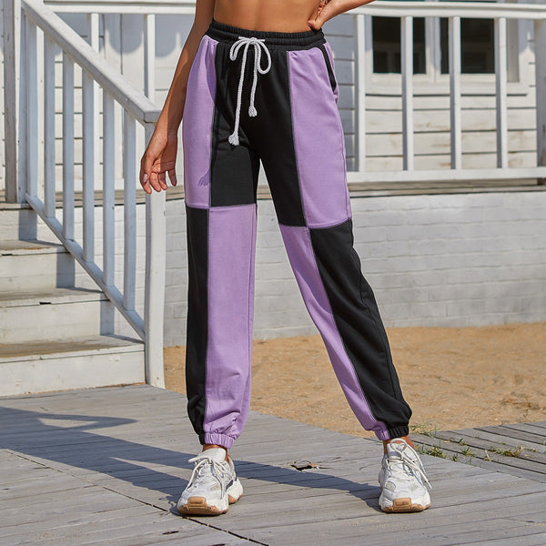 Retro colorblock casual straight-leg sports trousers