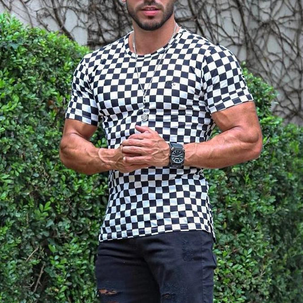 Black and White Checkered round neck top T-shirt