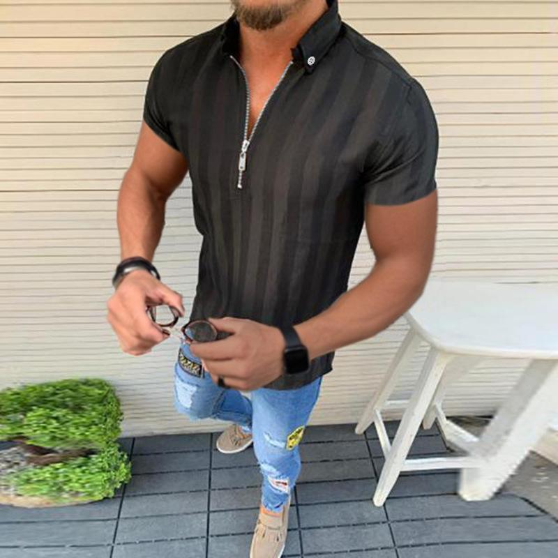 Men's casual Lapel zipper T-shirt