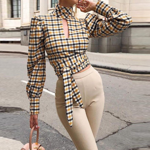 Plaid long sleeve sexy backless shirt