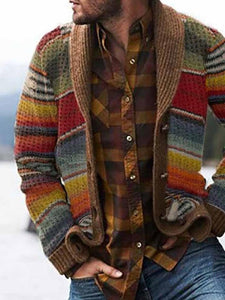 Button Color Block Standard Loose Single-Breasted Sweater