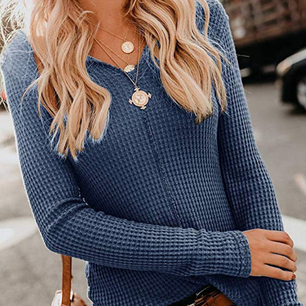 Sweater V-neck solid color long sleeve ladies sweater