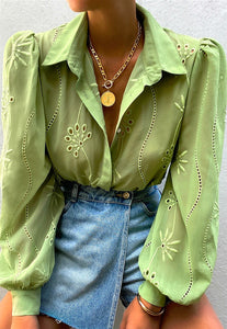 Olive green mesh women blouse