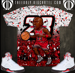 Fashion basketball cartoon T-shirt