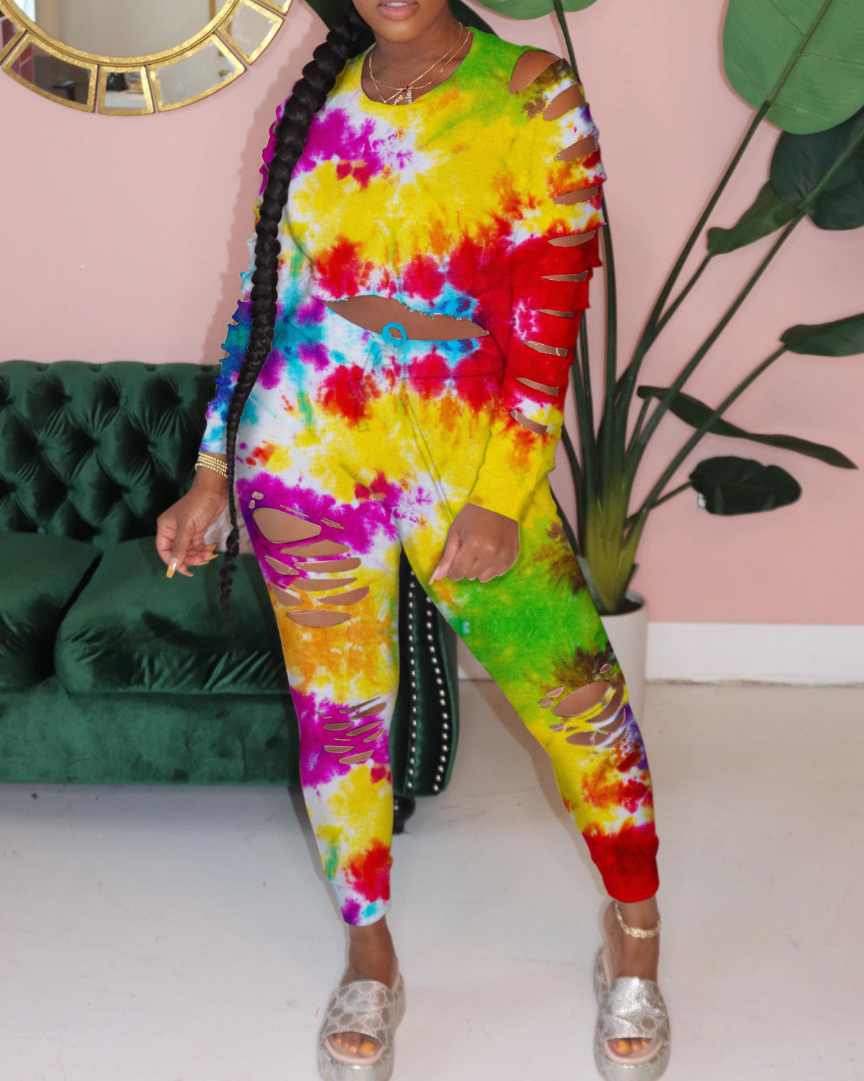 Tie dye gradients fashion autumn winter suit