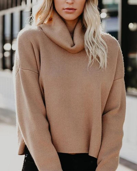 Solid Long Sleeve Loose High Neck Sweaters