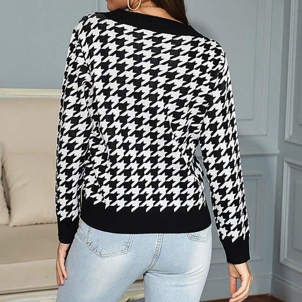 Long sleeve houndstooth jacquard knitted sweater