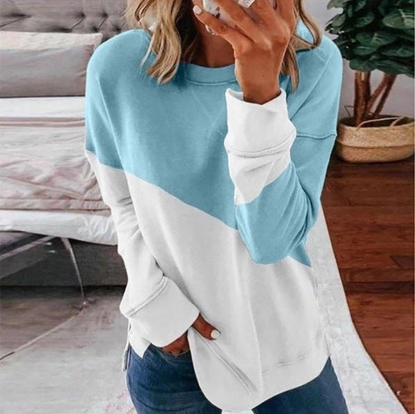 Colorblock long-sleeved round neck contrast loose T-shirt