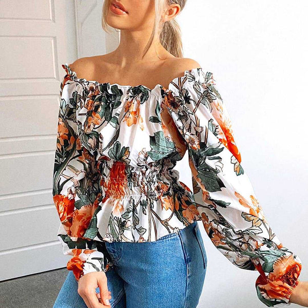 Square neck long sleeve chic tops