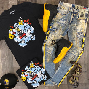 Hip hop functional style old Jeans