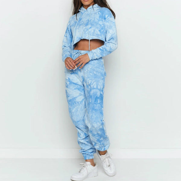 Tie-dye hooded sweatshirt pants suit