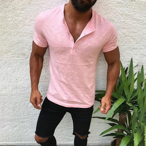 Casual fashion fit short sleeve V-neck men's T-shirt