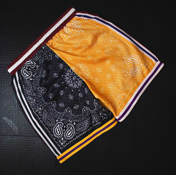 Color block praisely print streetwear men's sport shorts
