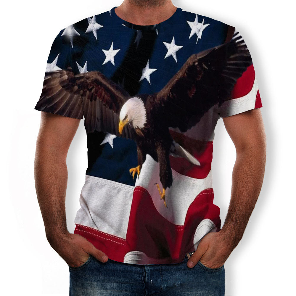 Casual 3D Eagle Print Men's Round Neck Short Sleeve T-Shirt