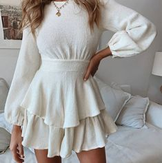 Tiered Ruffled Short Knit Sweater Dress