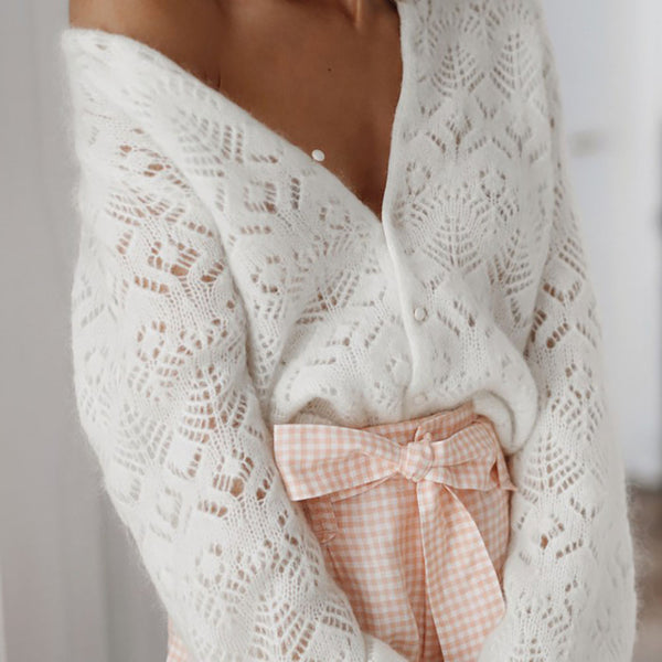 V neck mesh openwork knitted sweater