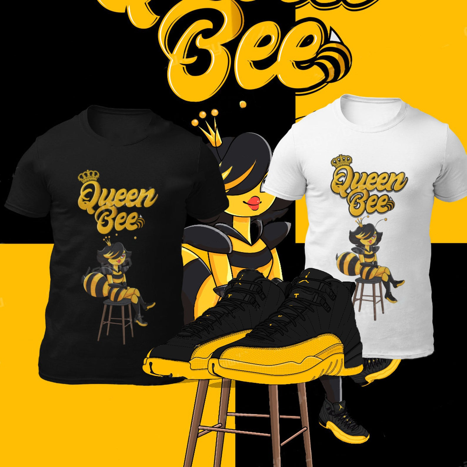 Queen bee print sneaker matching tee
