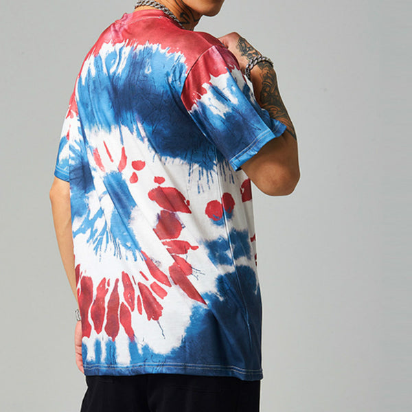 Fashion street style tie dye men's tee