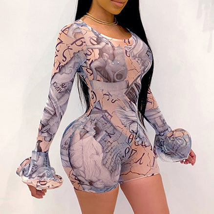Mesh perspective sexy short flared sleeve Jumpsuit