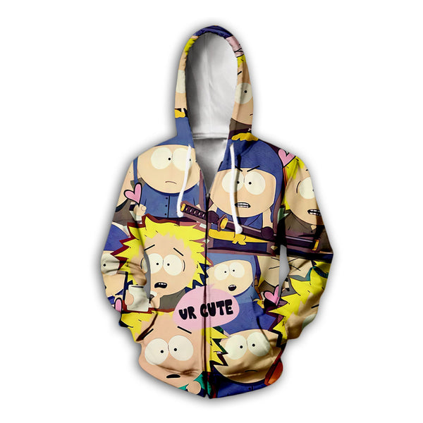 Cartoon digital printing 3D zipper hooded sweater