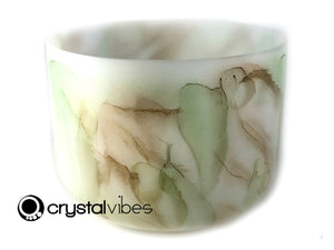 "432Hz Perfect G Prehnite/Orange Calcite/Citrine Fusion Empyrean Crystal Singing Bowl (14"")"