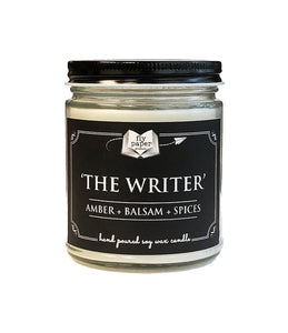 The Writer 9oz Soy Candle - Amber + Balsam + Spice