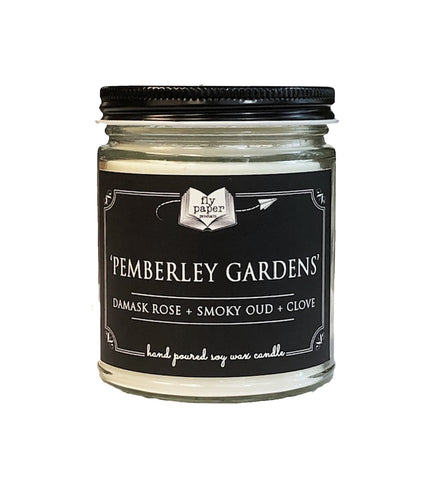 Pemberley Gardens - Damask Rose + Smoky Oud + Clove - 9oz Handpoured Soy Candle