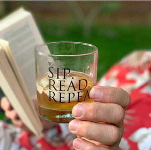 Sip .Read. Repeat-11oz Glass Tumbler