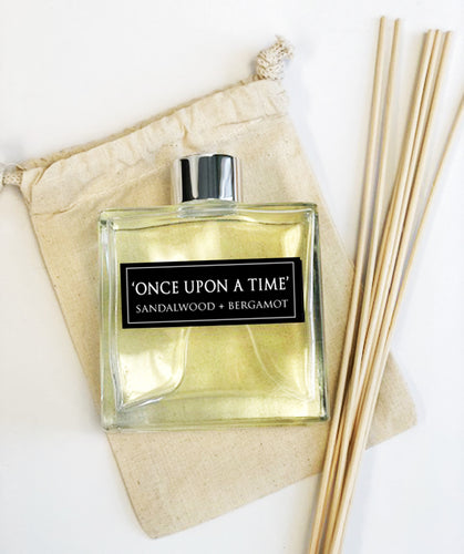 Once Upon a Time - 7oz Reed Diffuser Set- Sandalwood + Beragamot