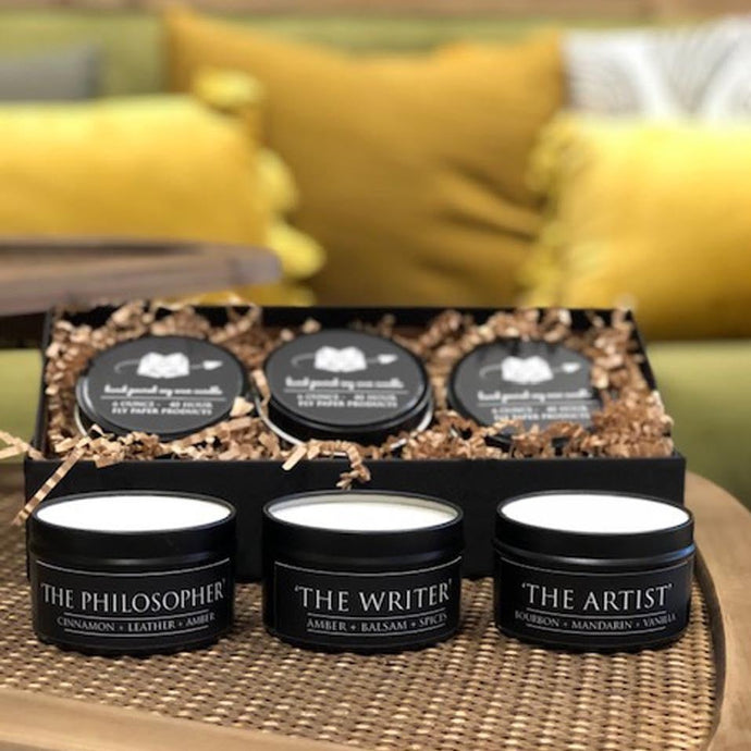 The Ultimate Boxed Candle Gift Set- 3 Literary themed Candles- Pick 3 Scents