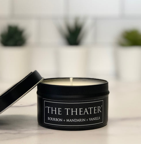 The Theater 6oz Tin Soy Candle - Bourbon + Mandarin + Vanilla