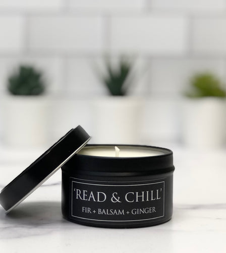 Read & Chill 6oz Tin Soy Candle - Fir + Balsam + Ginger