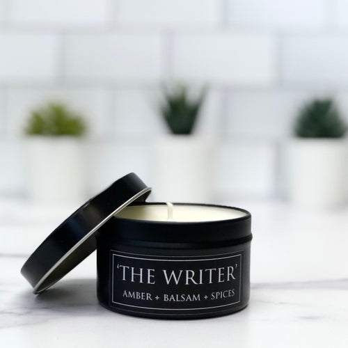 The Writer 6oz Tin Soy Candle - Amber + Balsam + Spice