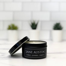 Load image into Gallery viewer, Jane Austen 6oz Tin Soy Candle - Citrus + Juniper + Vetiver