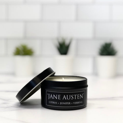 Jane Austen 6oz Tin Soy Candle - Citrus + Juniper + Vetiver