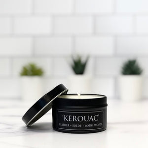 Kerouac 6oz Tin Soy Candle + Leather + Amber + Spice
