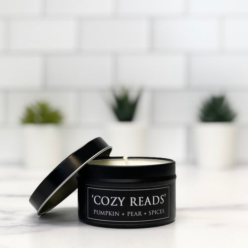 Cozy Reads 6oz Tin Soy Candle - Pumpkin + Apples + Anjou Pears
