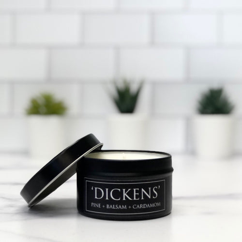 Dickens 6oz Tin Soy Candle - Balsam + Pin + Cardamom