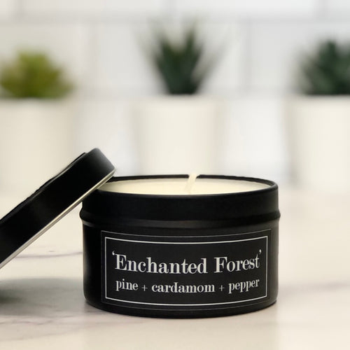 The Enchanted Forest 6oz Tin Soy Candle - Pine + Fir + Cardamom + Pepper
