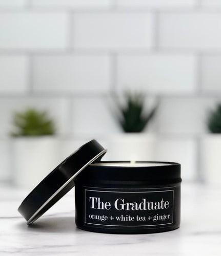The Graduate 6oz Tin Soy Candle - Orange + Lemon + White Tea + Ginger
