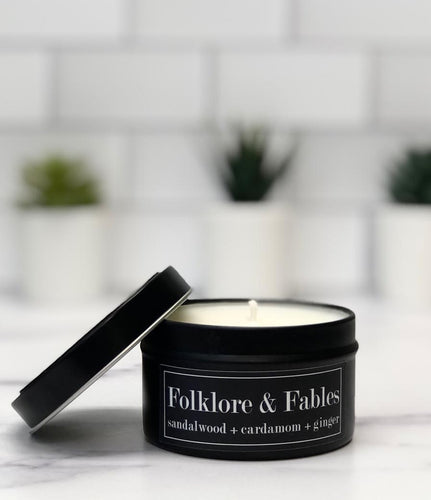 Folklore & Fables 6oz Tin Soy Candle - Sandalwood + Cardamom + Ginger