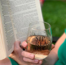 Load image into Gallery viewer, Sip. Read. Repeat. - 15oz Stemless Wine Glass