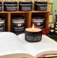 Load image into Gallery viewer, Book Lover 6oz Tin Soy Candle - Lavender + Lemon + Jasmine