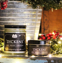 Load image into Gallery viewer, Dickens - 6oz Tin Soy Candle- Balsam + Pin + Cardamom