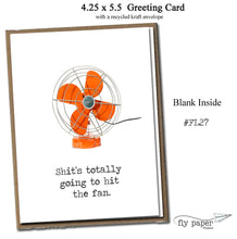 Load image into Gallery viewer, Shit's totally goind to hit the fan. Classic Linen Series Greeting Card- Blank Inside