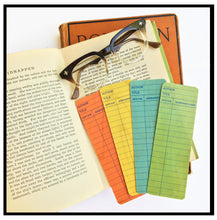 Load image into Gallery viewer, Blue Library Book Card design -Wooden Maple Bookmark