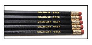 Set of 5 'Grammar Geek' Pencils - Gift for Grammar lover- Geek Gift - Gift For Writer - Literature - Literary - Writers - Writing